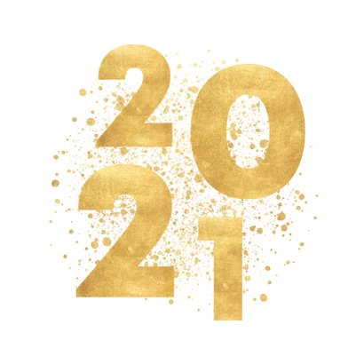 Stijlvolle kerstkaart gouden 2021, spetters Merry Christmas 2