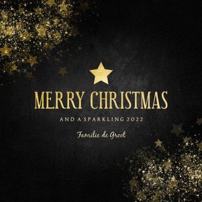 Stijlvolle kerstkaart gouden ster Merry Christmas 3