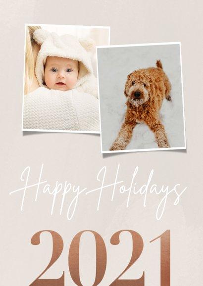 Stijlvolle kerstkaart jaartal 2021 foto's happy holidays 2