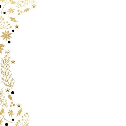 Stijlvolle kerstkaart kersttakjes zwart goud 2