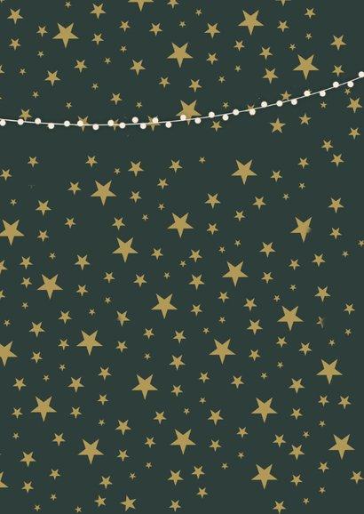 Stijlvolle kerstkaart met 2 eigen foto's en gouden sterren 2
