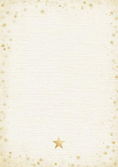 Stijlvolle kerstkaart met 2 eigen foto's en gouden sterren Achterkant