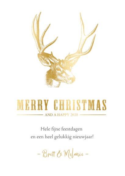 Stijlvolle kerstkaart met een gouden hert illustratie 3