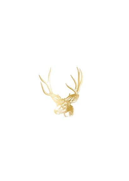 Stijlvolle kerstkaart met een gouden hert illustratie Achterkant