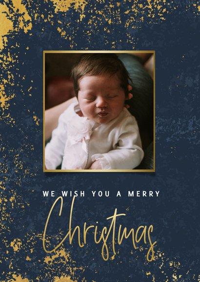 Stijlvolle kerstkaart met foto's, gouden kader en Christmas 2