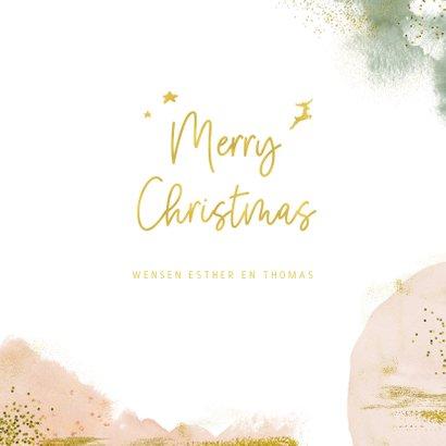 Stijlvolle kerstkaart met goudlook en waterverf 3