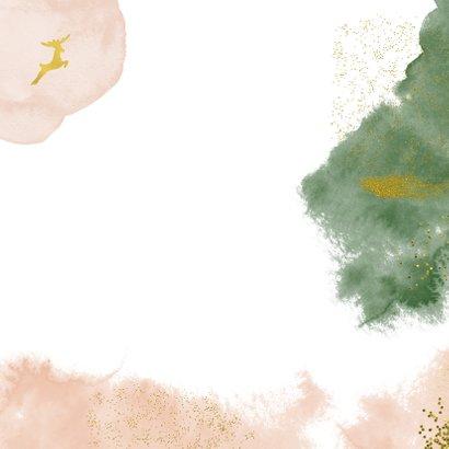 Stijlvolle kerstkaart met goudlook en waterverf Achterkant
