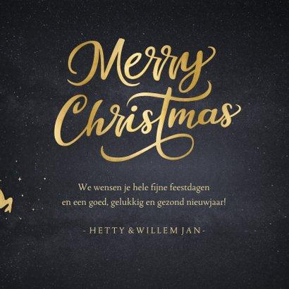 Stijlvolle kerstkaart met silhouet van kerstman in arrenslee 3
