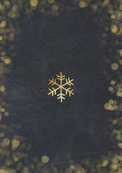 Stijlvolle kerstkaart met zwarte achtergrond en goudlook  Achterkant