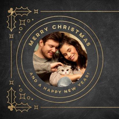 Stijlvolle kerstkaart vintage kader, foto en Merry Christmas 2