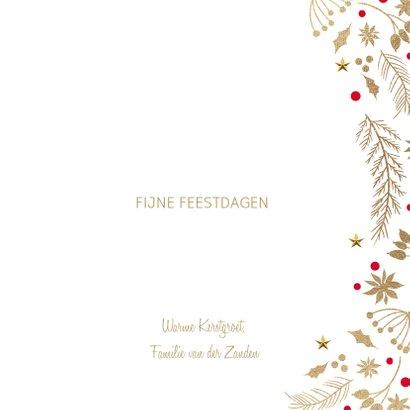 Stijlvolle kerstkaart wit goud merry christmas 3