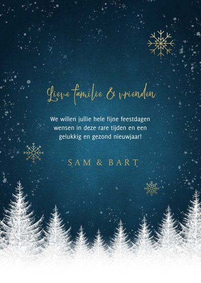 Stijlvolle kerstkaart witte bomen, sneeuwvlokken en foto's 3