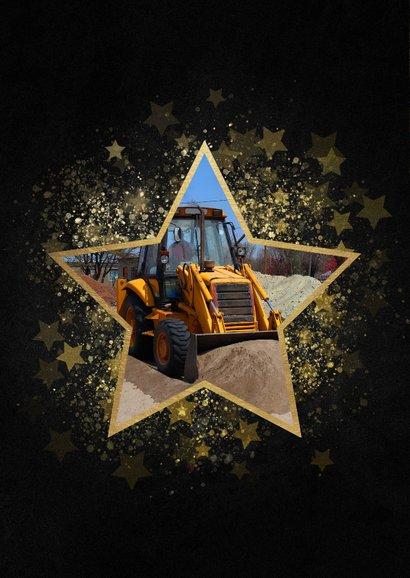Stijlvolle kerstkaart zakelijk gouden ster met foto 2