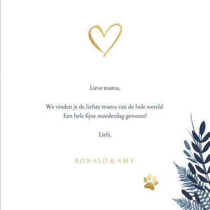 Stijlvolle knuffel moederdagkaart met eigen foto en goud 3