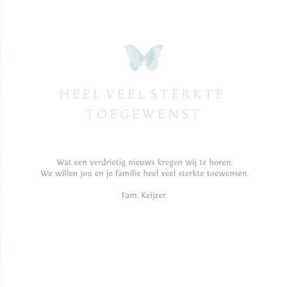 Stijlvolle moderne condoleance kaart met waterverf vlinder 3