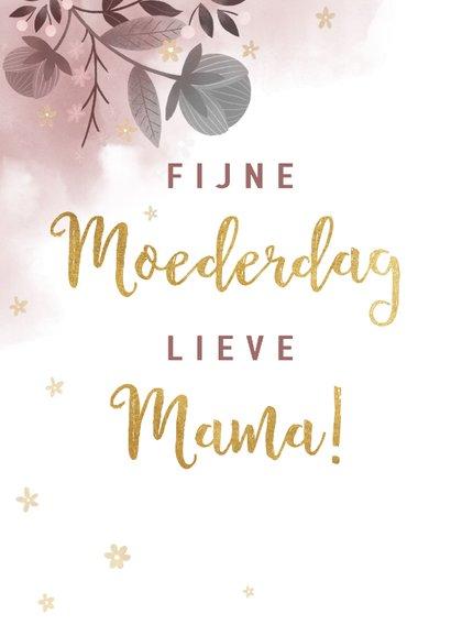 Stijlvolle moederdagkaart waterverf, bloemen en typografie 2