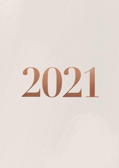 Stijlvolle nieuwjaarskaart 2021 fotocollage in rosegoud 2