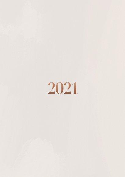 Stijlvolle nieuwjaarskaart 2021 fotocollage in rosegoud Achterkant