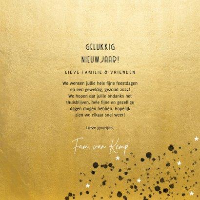 Stijlvolle nieuwjaarskaart 2022 goudlook spetters en foto 3