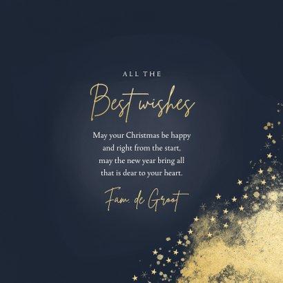 Stijlvolle nieuwjaarskaart best wishes donkerblauw goudlook 3