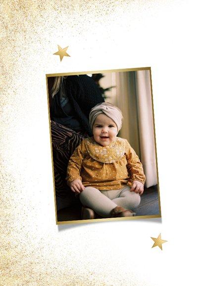 Stijlvolle nieuwjaarskaart goud grote foto gezond nieuwjaar 2