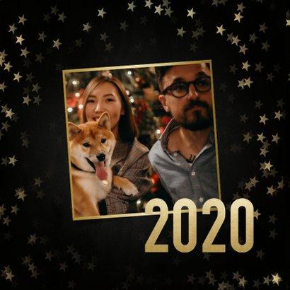 Stijlvolle nieuwjaarskaart gouden 2020, sterren en foto's 2
