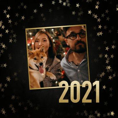Stijlvolle nieuwjaarskaart gouden 2021, sterren en foto's 2