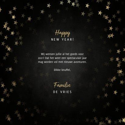 Stijlvolle nieuwjaarskaart gouden 2021, sterren en foto's 3