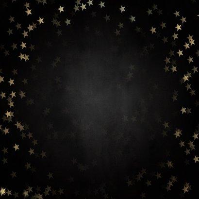 Stijlvolle nieuwjaarskaart gouden 2021, sterren en foto's Achterkant