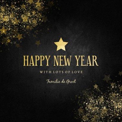 Stijlvolle nieuwjaarskaart gouden ster Happy new Year 3