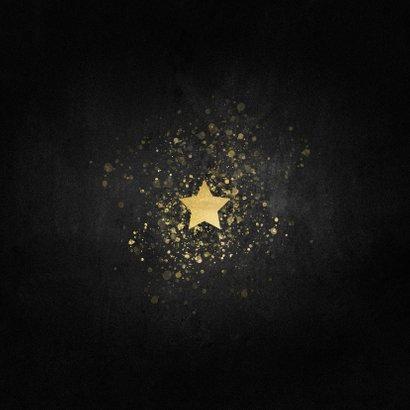Stijlvolle nieuwjaarskaart gouden ster Happy new Year Achterkant