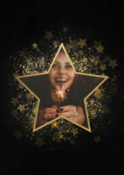 Stijlvolle nieuwjaarskaart gouden ster met foto 2
