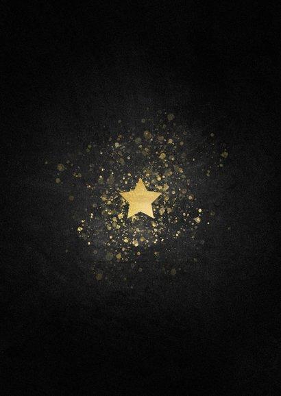 Stijlvolle nieuwjaarskaart gouden ster met foto Achterkant