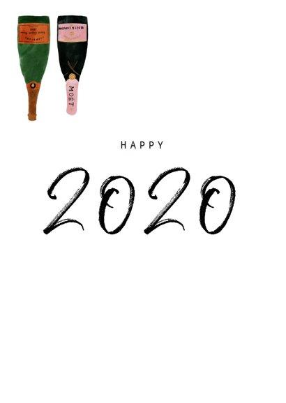 Stijlvolle nieuwjaarskaart met champagneflessen en 2020 2