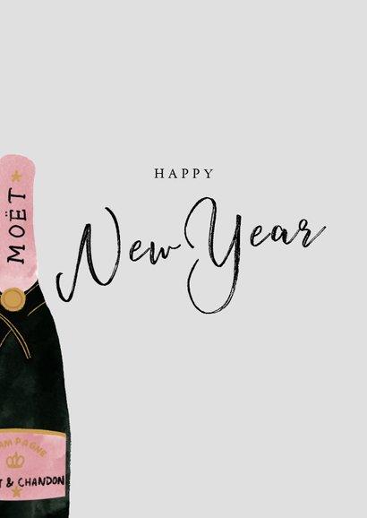 Stijlvolle nieuwjaarskaart met champagneflessen en New Year 2