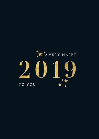 Stijlvolle nieuwjaarskaart met gouden 2019 en foto 2