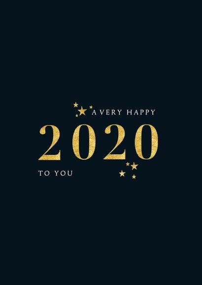 Stijlvolle nieuwjaarskaart met gouden 2020 en foto 2