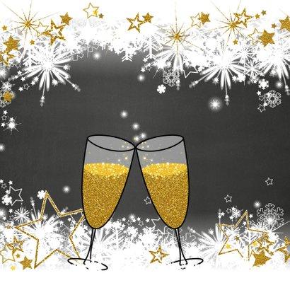 Stijlvolle nieuwjaarskaart sneeuw en sterren  champagne 2019 2