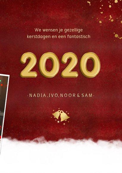 Stijlvolle rode fotocollage kerstkaart met jaartal 2020  3