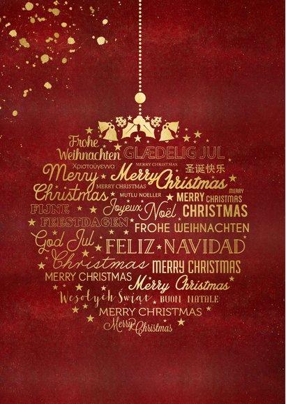 Stijlvolle rode kerstkaart met eigen foto en gouden tekst 2