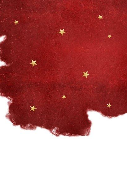 Stijlvolle rode kerstkaart met goudlook letters fijne kerst Achterkant