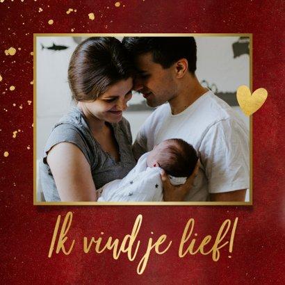 Stijlvolle rode moederdagkaart fotocollage met 2 foto's 2