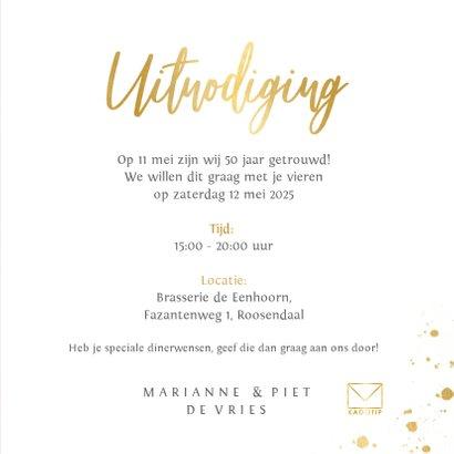 Stijlvolle rode uitnodigingskaart 50 jaar getrouwd met goud  3