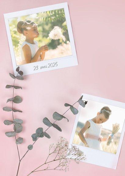 Stijlvolle roze communie uitnodiging met polaroids en rozen 2