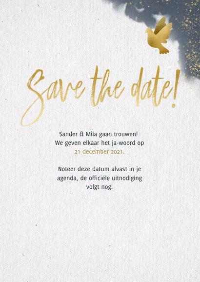 Stijlvolle save the date kaart gouden duiven en waterverf 3