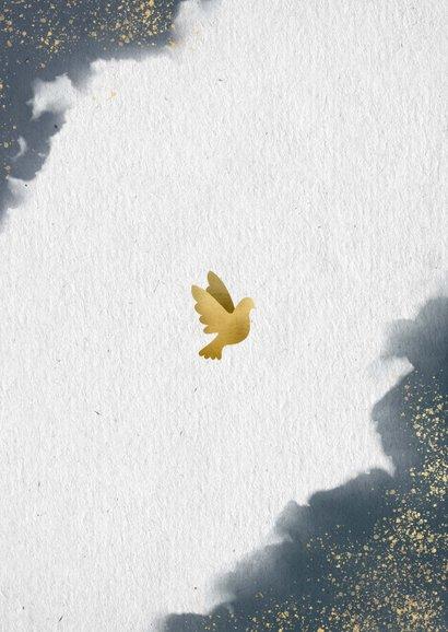 Stijlvolle save the date kaart gouden duiven en waterverf Achterkant