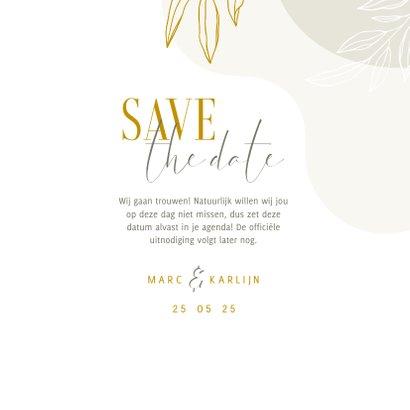 Stijlvolle Save the Date kaart met lijntekening van bladeren 3
