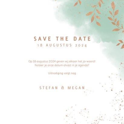 Stijlvolle save the date kaart, mint waterverf en plantjes 3