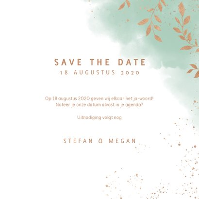 Stijlvolle save the date kaart, mint waterverf en plantjes 3