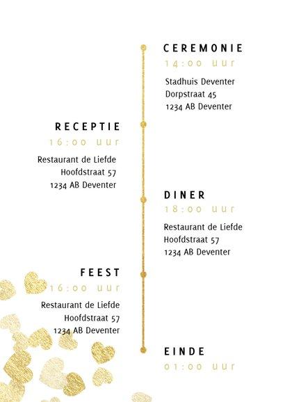 Stijlvolle trouwkaart met gouden hartjes typografie en foto 2